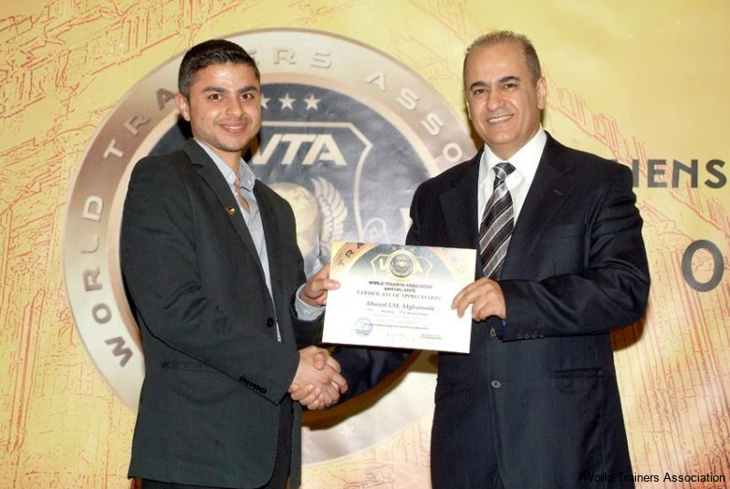 Awarding Mr. Ahmed I.M. Alghussein from Palestine in the WTA Competition of 2013