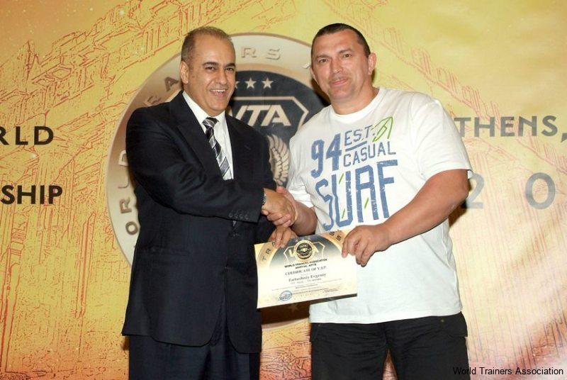 Awarding Mr. Fartushniy Evgeniy, President of the Krasnodarskiy-kray Kickboxing Federation Russia in the WTA Competition of 2013