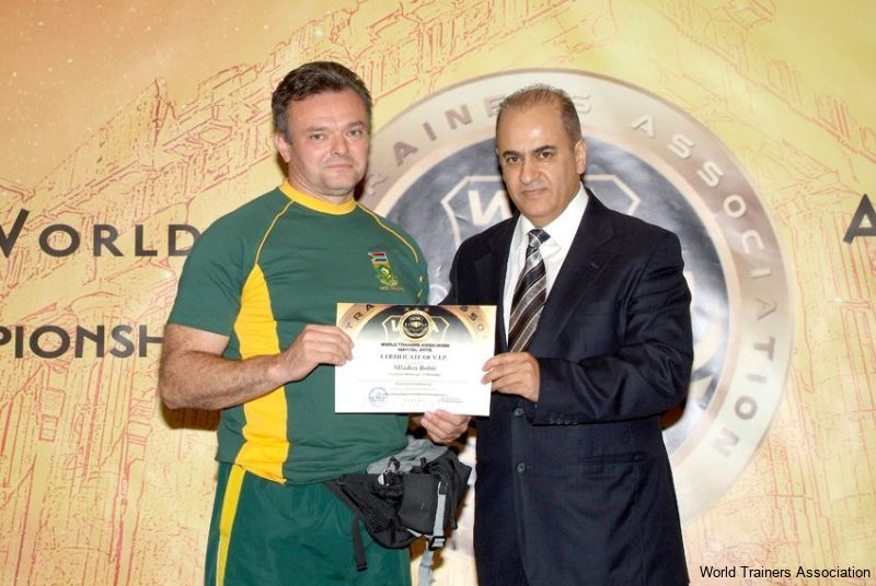 awarding mr. mladen bobic president of the south-african k1 kickboxing organisation in the wta competition of 2013