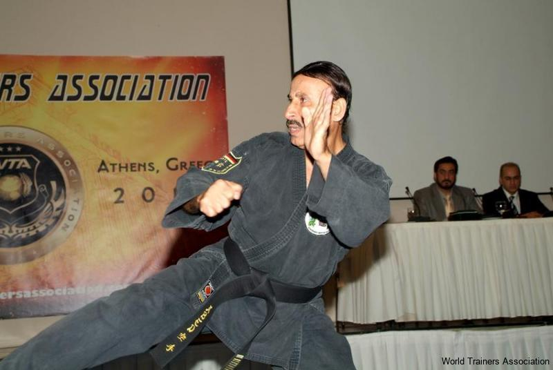 Mr. Abed el Saleh demonstrating his technique in the WTA Competition of 2013