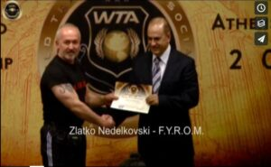 Zlatko Nedelkovski Award at the 1st WTA Instructors' Championship by its President Petro bitar